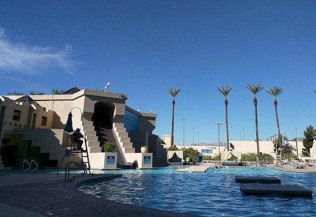 Morning pool time in the shadow of the Luxor #Vegas(Elizabeth K. Joseph)
